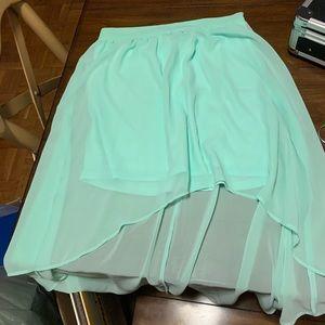 Forever 21 mint green high low skirt